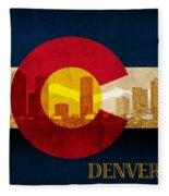 Denver Skyline Silhouette Of Colorado State Flag Canvas Fleece Blanket