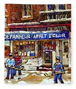 Depanneur Arret Eclair Verdun Rue Wellington Montreal Paintings Original Hockey Art Sale Commissions Fleece Blanket