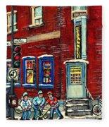 Depanneur Centre Pointe St Charles Montreal Verdun Paintings Hockey Art City Scenes Cspandau Fleece Blanket