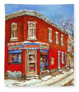 Depanneur Surplus De Pain Point St Charles Montreal Winterscene Paintings Cspandau Originals Prints  Fleece Blanket