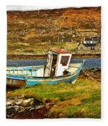 Derelict Fishing Boat On The Irish Coast Fleece Blanket