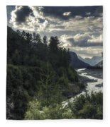 Desaturated Mountainscape Fleece Blanket
