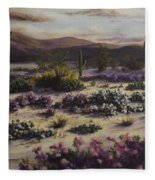 Desert In Bloom At Dusk Fleece Blanket