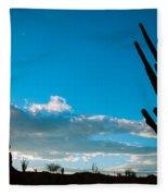 Desert Landscape Silhouette Fleece Blanket