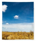 Desert Landscape With Deep Blue Sky Fleece Blanket