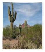 Desert Landscape With Saguaro Fleece Blanket