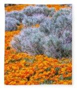 Desert Poppies And Sage Fleece Blanket