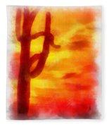 Desert Sunset Photo Art 01 Fleece Blanket