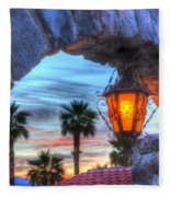 Desert Sunset View Fleece Blanket