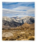 Desert View Of Majestic Mount Whitney Mountain Peaks With Clouds Fleece Blanket