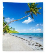 Deserted Beach And Palm Trees Fleece Blanket