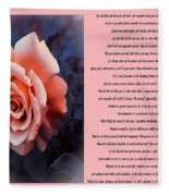 Desiderata Coral Rose Sidebyside Fleece Blanket