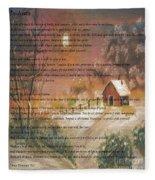 Desiderata On Snow Scene With Cabin Fleece Blanket