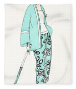 Design For A Day Dress C 1919 Fleece Blanket