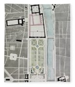 Design For Joining The Tuileries To The Louvre, 1808 Wc On Paper Fleece Blanket