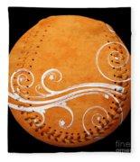Designer Orange Baseball Square Fleece Blanket