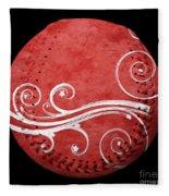 Designer Red Baseball Square Fleece Blanket