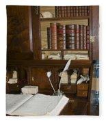 Desk With Quill Pens Fleece Blanket
