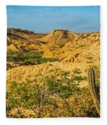 Desolate Desert Landscape Fleece Blanket