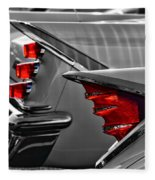 Desoto Red Tail Lights In Black And White Fleece Blanket