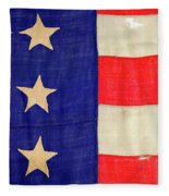 Detail Of A Civil War Flag In Drummer Fleece Blanket