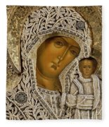 Detail Of An Icon Showing The Virgin Of Kazan By Yegor Petrov Fleece Blanket