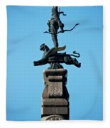 Detailed Images Of Statues In Almaty Fleece Blanket