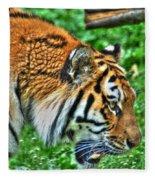 Determination In The Tigers Stare Fleece Blanket