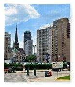 Detroit As Seen From Comerica Fleece Blanket
