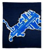 Detroit Lions Football Team Retro Logo License Plate Art Fleece Blanket
