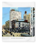 Detroit - Michigan And Griswold Avenues - 1910 Fleece Blanket