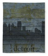 Detroit Michigan City Skyline Silhouette Distressed On Worn Peeling Wood Fleece Blanket