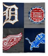 Detroit Sports Fan Recycled Vintage Michigan License Plate Art Tigers Pistons Red Wings Lions Fleece Blanket