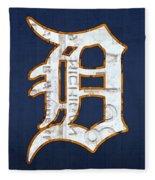 Detroit Tigers Baseball Old English D Logo License Plate Art Fleece Blanket
