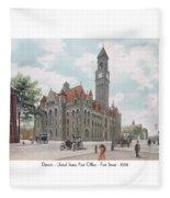 Detroit - United States Post Office - Fort Street - 1908 Fleece Blanket