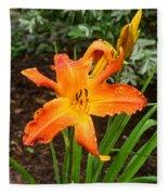 Dew Drops On Golden Lily Fleece Blanket