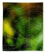Dew Drops On Spider Web  Fleece Blanket