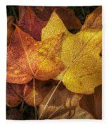 Dew On Autumn Leaves Fleece Blanket