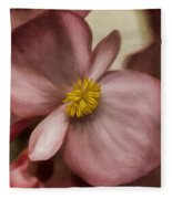 Dewy Pink Painted Begonia Fleece Blanket