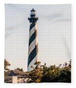Diagonal Black And White Stripes Mark The Cape Hatteras Lighthou Fleece Blanket
