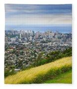 Diamond Head And The City Of Honolulu Fleece Blanket