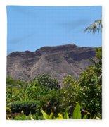 Diamond Head From Honolulu Zoo Fleece Blanket
