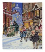 Dickensian Christmas Scene Fleece Blanket