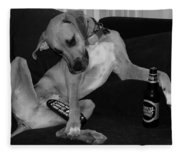Diesel In Black And White Fleece Blanket