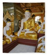 different sitting Buddhas in a circle in SHWEDAGON PAGODA Fleece Blanket