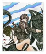 Digital Dragon Rider Colour Version Fleece Blanket