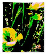 Digital Green Yellow Abstract Fleece Blanket