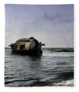 Digital Oil Painting - A Houseboat Moving Placidly Through A Coastal Lagoon Fleece Blanket