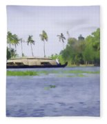 Digital Oil Painting - A Houseboat On Its Quiet Sojourn Through The Backwaters Of Allep Fleece Blanket