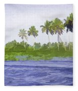 Digital Oil Painting - Water Rippling In The Coastal Lagoon Fleece Blanket